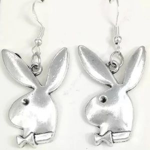 Playboy Bunny Brushed Antique Silver Tone Earrings